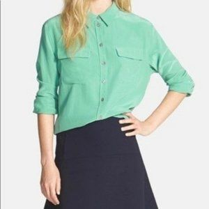 Two by Vince Camuto Green Silk Utility Button Down